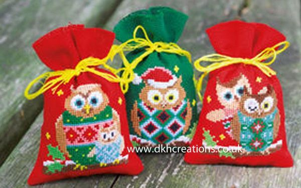 Christmas Owls Pot Pourri Bags Cross Stitch Kit